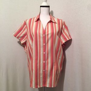 Style&Co - V Neck striped button down blouse